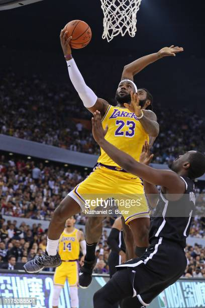 LeBron James of the Los Angeles Lakers drives to the basket against the Brooklyn Nets during a preseason game as part of 2019 NBA Global Games China...