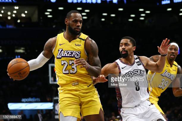 LeBron James of the Los Angeles Lakers drives to the basket against Spencer Dinwiddie of the Brooklyn Nets at Barclays Center on January 23 2020 in...