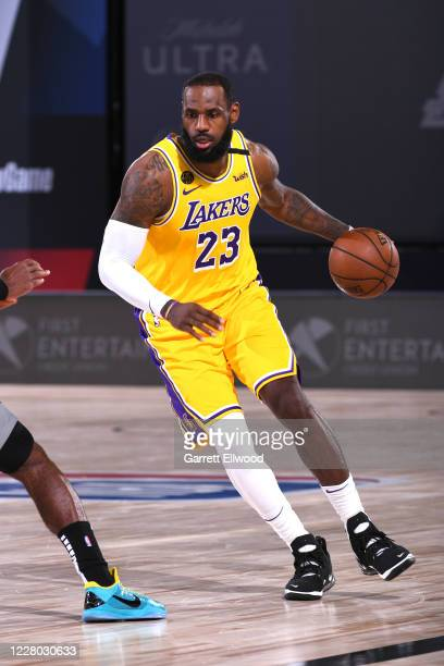 LeBron James of the Los Angeles Lakers drives to the basket against the Sacramento Kings on August 13 2020 at The Field House in Orlando Florida NOTE...