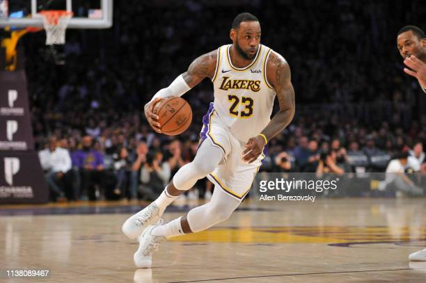 LeBron James of the Los Angeles Lakers drives to the basket during a game against the Sacramento Kings at Staples Center on March 24 2019 in Los...