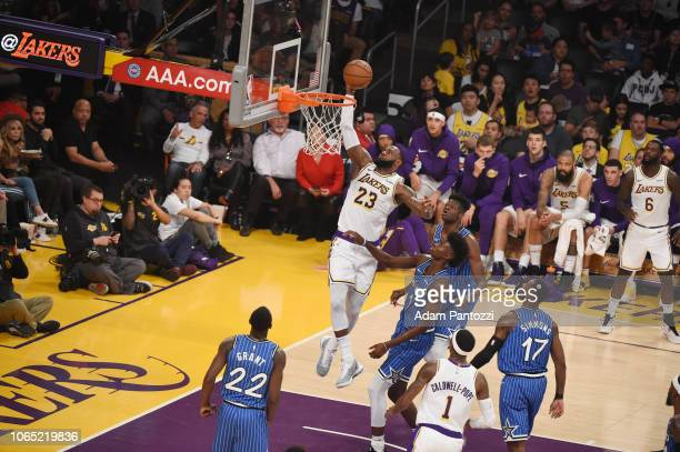LeBron James of the Los Angeles Lakers drives to the basket during the game against the Orlando Magic on November 25 2018 at STAPLES Center in Los...