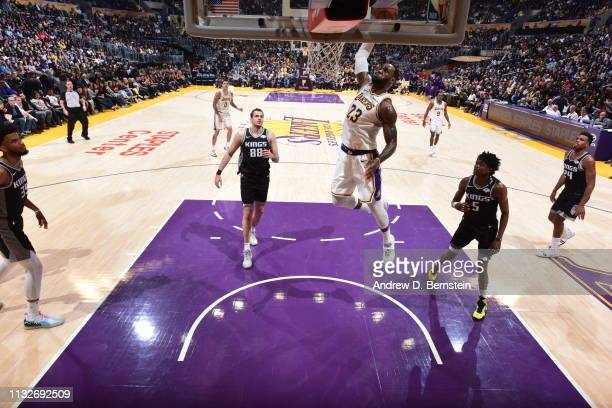 LeBron James of the Los Angeles Lakers drives to the basket during the game against the Sacramento Kings on March 24 2019 at STAPLES Center in Los...