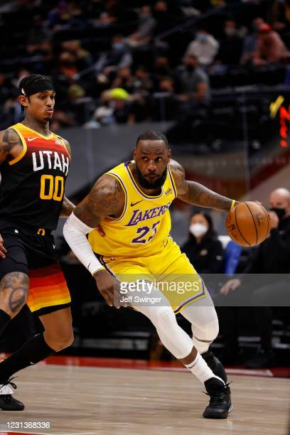 LeBron James of the Los Angeles Lakers drives to the basket during the game against the Utah Jazz on February 24, 2021 at vivint.SmartHome Arena in...