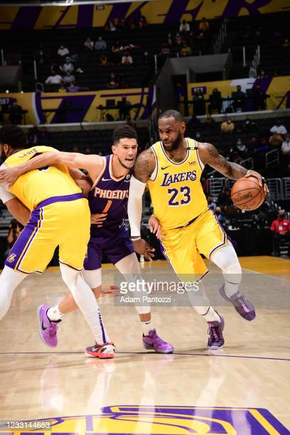 LeBron James of the Los Angeles Lakers drives to the basket during the game against the Phoenix Suns during Round 1, Game 3 of the 2021 NBA Playoffs...