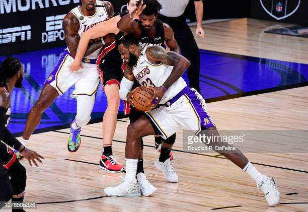 LeBron James of the Los Angeles Lakers drives to the basket during the second half against the Miami Heat in Game Three of the 2020 NBA Finals at...