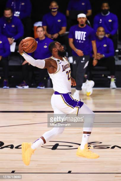 LeBron James of the Los Angeles Lakers drives to the basket during the first quarter against the Miami Heat in Game Six of the 2020 NBA Finals at...