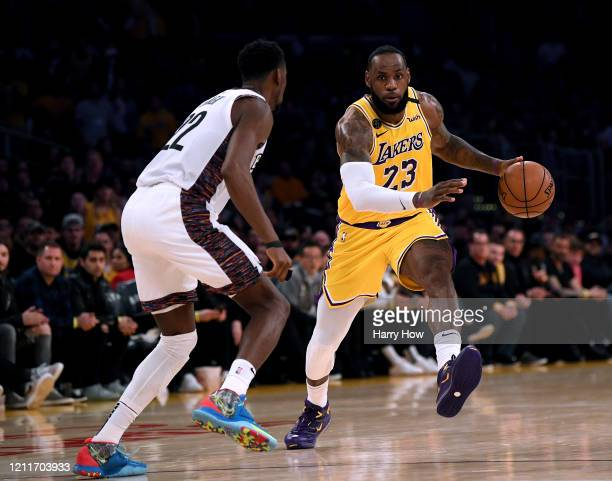 LeBron James of the Los Angeles Lakers drives to the basket on Caris LeVert of the Brooklyn Nets during a 104102 Nets win at Staples Center on March...