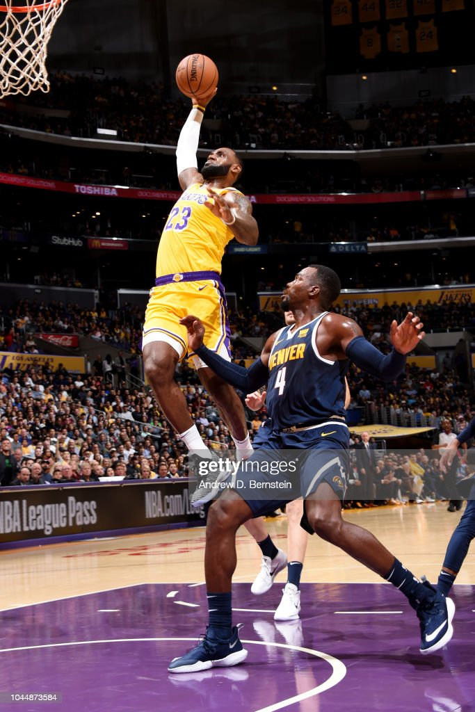 LeBron James Of The Los Angeles Lakers Dunks The Ball