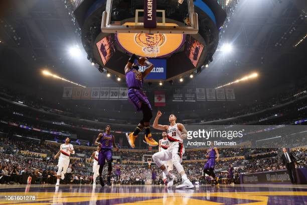 LeBron James of the Los Angeles Lakers dunks the ball against the Portland Trail Blazers on November 14 2018 at STAPLES Center in Los Angeles...