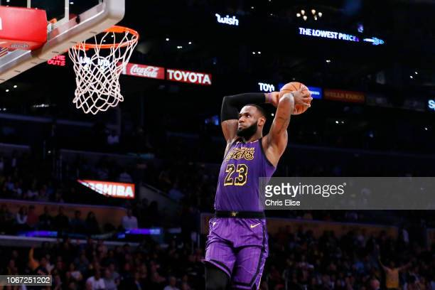 LeBron James of the Los Angeles Lakers dunks the ball against the Utah Jazz on November 23 2018 at the STAPLES Center in Los Angeles California NOTE...