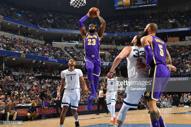 LeBron James of the Los Angeles Lakers dunks the ball against the Memphis Grizzlies on December 8 2018 at FedExForum in Memphis Tennessee NOTE TO...