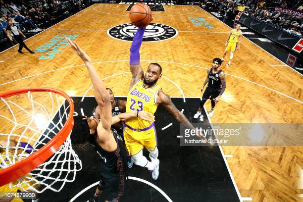 LeBron James of the Los Angeles Lakers dunks the ball against the Brooklyn Nets on December 18 2018 at Barclays Center in Brooklyn New York NOTE TO...