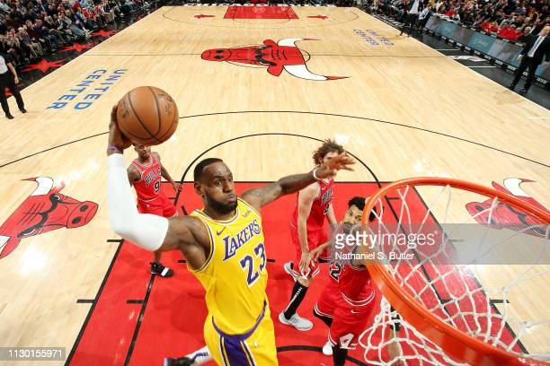 LeBron James of the Los Angeles Lakers dunks the ball against the Chicago Bulls on March 12 2019 at the United Center in Chicago Illinois NOTE TO...