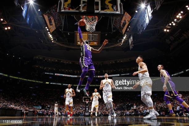 LeBron James of the Los Angeles Lakers dunks the ball against the Toronto Raptors on March 14 2019 at the Scotiabank Arena in Toronto Ontario Canada...