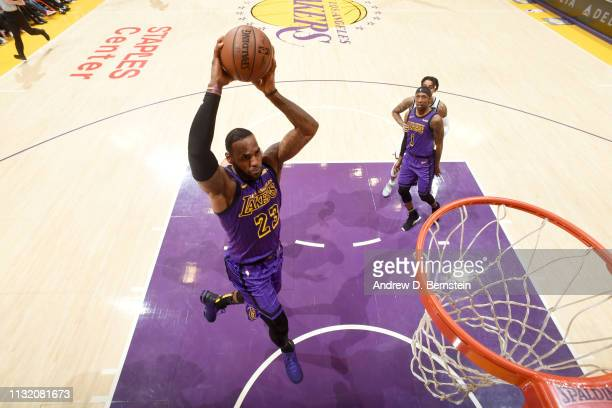 LeBron James of the Los Angeles Lakers dunks the ball against the Brooklyn Nets on March 22 2019 at STAPLES Center in Los Angeles California NOTE TO...