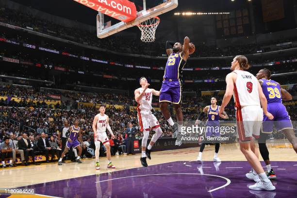 LeBron James of the Los Angeles Lakers dunks the ball against the Miami Heat on November 8 2019 at STAPLES Center in Los Angeles California NOTE TO...