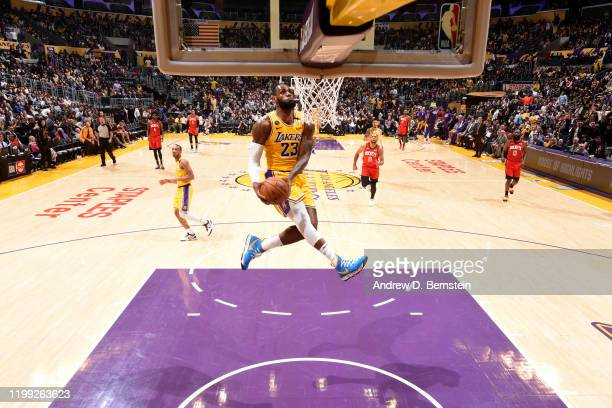 LeBron James of the Los Angeles Lakers dunks the ball against the Houston Rockets on February 6 2020 at STAPLES Center in Los Angeles California NOTE...