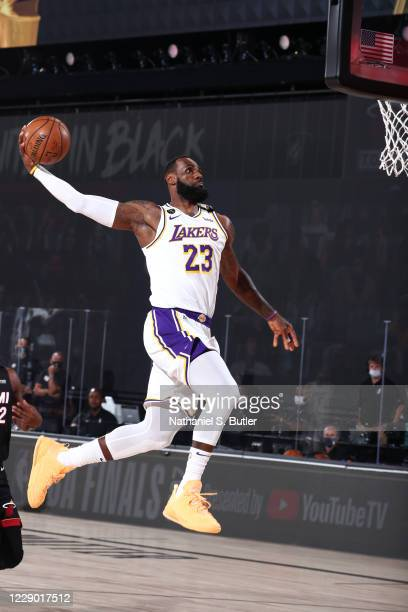 LeBron James of the Los Angeles Lakers dunks the ball against the Miami Heat during Game Six of the NBA Finals on October 11, 2020 at AdventHealth...