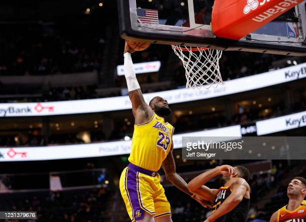LeBron James of the Los Angeles Lakers dunks the ball against the Utah Jazz on February 24, 2021 at vivint.SmartHome Arena in Salt Lake City, Utah....