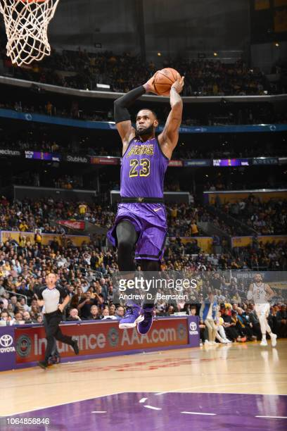LeBron James of the Los Angeles Lakers dunks the ball during the game against the Utah Jazz on November 23 2018 at STAPLES Center in Los Angeles...