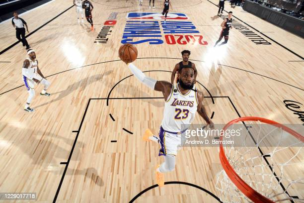 LeBron James of the Los Angeles Lakers dunks the ball during the game against the Miami Heat during Game Six of the NBA Finals on October 11, 2020 at...