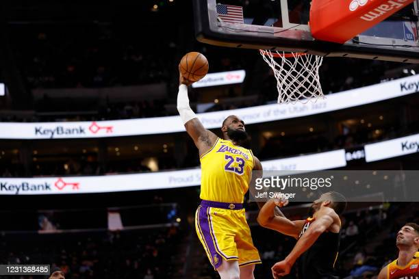 LeBron James of the Los Angeles Lakers dunks the ball during the game against the Utah Jazz on February 24, 2021 at vivint.SmartHome Arena in Salt...