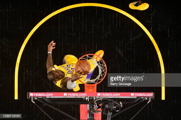 LeBron James of the Los Angeles Lakers dunks the ball during the game against the Phoenix Suns during Round 1, Game 2 of the 2021 NBA Playoffs on May...