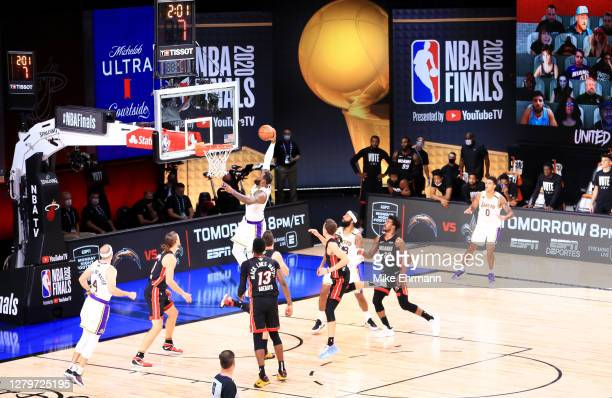 LeBron James of the Los Angeles Lakers dunks the ball during the third quarter against the Miami Heat in Game Six of the 2020 NBA Finals at...
