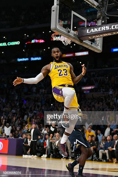 Lebron James Of The Los Angeles Lakers Dunks The Basketball Against News Photo Getty Images