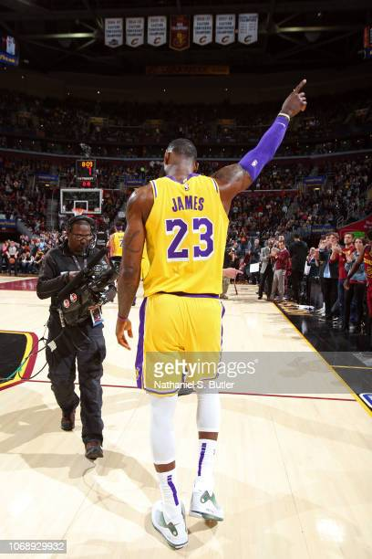 LeBron James of the Los Angeles Lakers during a game against the Cleveland Cavaliers on November 21 2018 at Quicken Loans Arena in Cleveland Ohio...