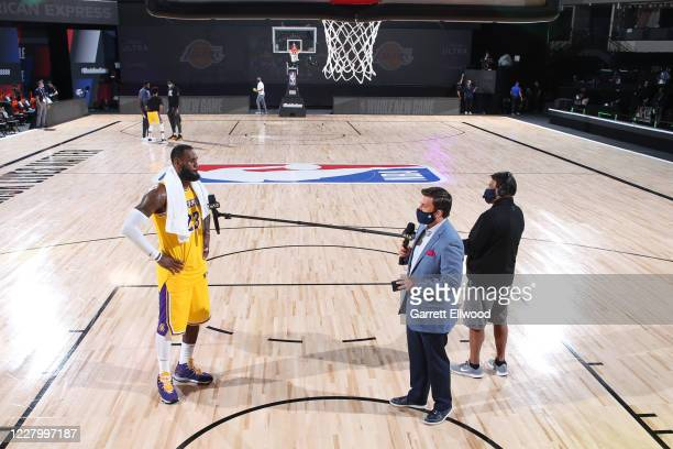 LeBron James of the Los Angeles Lakers during a postgame interview after win against the Denver Nuggets on August 10 2020 at The AdventHealth Arena...