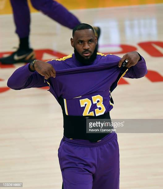 LeBron James of the Los Angeles Lakers during pre-game warm-ups before the start of a basketball game against the Sacramento Kings at Staples Center...