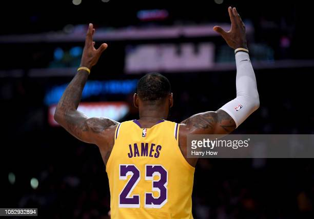 LeBron James of the Los Angeles Lakers during the game against the Houston Rockets at Staples Center on October 20 2018 in Los Angeles California