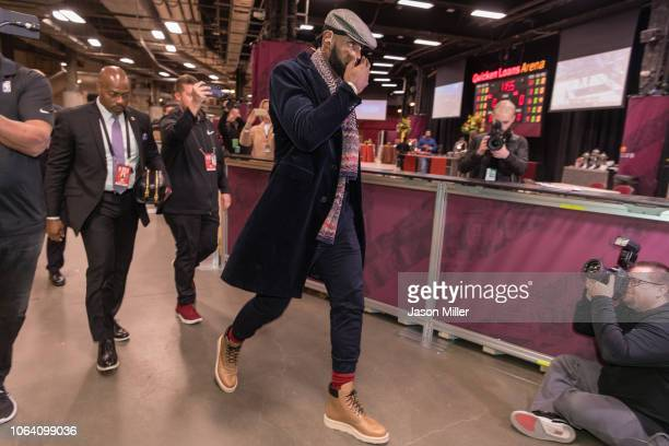 LeBron James of the Los Angeles Lakers enters Quicken Loans Arena prior to the game against the Cleveland Cavaliers on November 21 2018 in Cleveland...