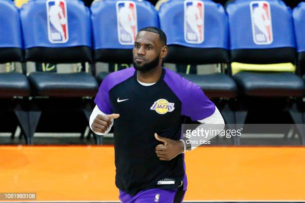 LeBron James of the Los Angeles Lakers enters the arena prior to the game against the Denver Nuggets on September 30 2018 at Valley View Casino...