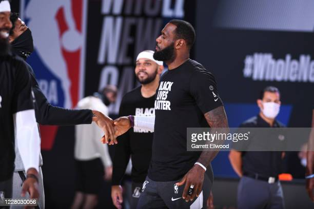 LeBron James of the Los Angeles Lakers gets introduced before the game on August 13 2020 at The Field House in Orlando Florida NOTE TO USER User...