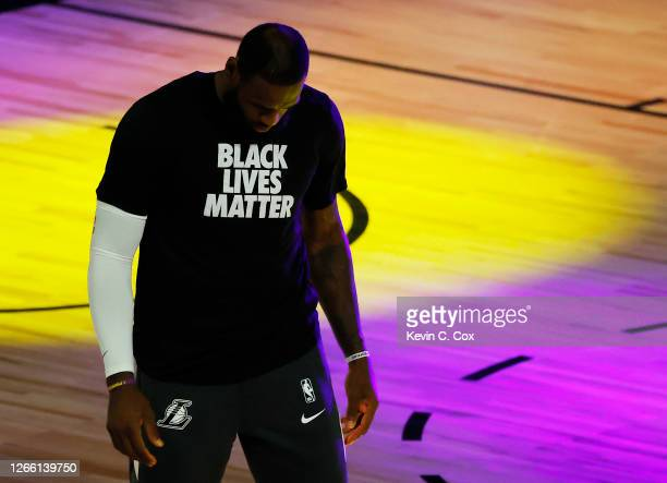 LeBron James of the Los Angeles Lakers gets ready for the game during player introductions against the Sacramento Kings at The Field House at ESPN...