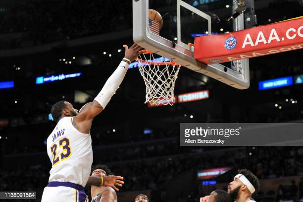 LeBron James of the Los Angeles Lakers goes in for a layup during a game against the Sacramento Kings at Staples Center on March 24 2019 in Los...