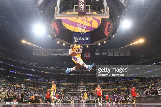 LeBron James of the Los Angeles Lakers goes in for the dunk against the Houston Rockets on February 6 2020 at STAPLES Center in Los Angeles...