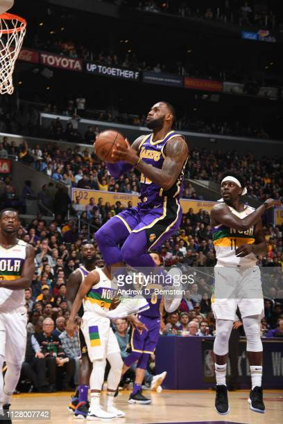 LeBron James of the Los Angeles Lakers goes to the basket against the New Orleans Pelicans on February 27 2019 at STAPLES Center in Los Angeles...