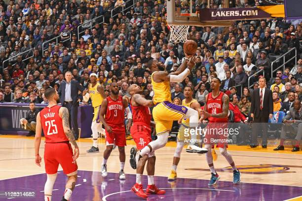 LeBron James of the Los Angeles Lakers goes to the basket against the Houston Rockets on February 21 2019 at STAPLES Center in Los Angeles California...