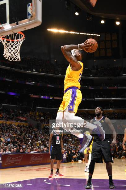 LeBron James of the Los Angeles Lakers goes up for dunk against the LA Clippers on March 4 2019 at STAPLES Center in Los Angeles California NOTE TO...