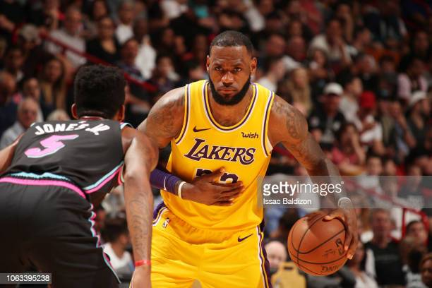 LeBron James of the Los Angeles Lakers handles the ball against the Miami Heat on November 18 2018 at American Airlines Arena in Miami Florida NOTE...
