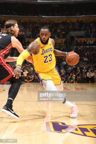 LeBron James of the Los Angeles Lakers handles the ball against the Miami Heat on December 10 2018 at STAPLES Center in Los Angeles California NOTE...