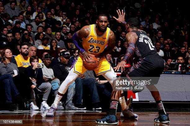 LeBron James of the Los Angeles Lakers handles the ball against the Brooklyn Nets on December 18 2018 at Barclays Center in Brooklyn New York NOTE TO...
