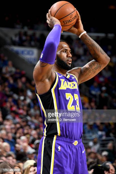 LeBron James of the Los Angeles Lakers handles the ball against the Philadelphia 76ers on February 10 2019 at the Wells Fargo Center in Philadelphia...