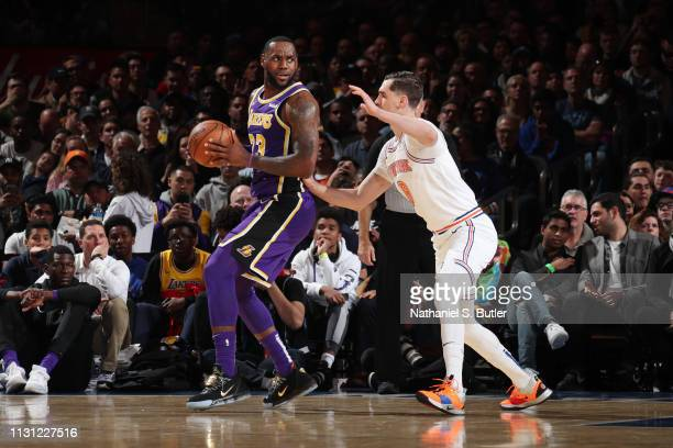 LeBron James of the Los Angeles Lakers handles the ball against the New York Knicks on March 17 2019 at Madison Square Garden in New York City New...