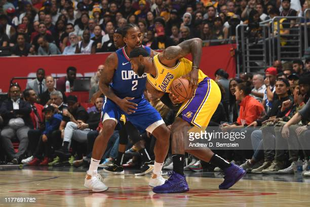LeBron James of the Los Angeles Lakers handles the ball against the LA Clippers on October 22 2019 at STAPLES Center in Los Angeles California NOTE...