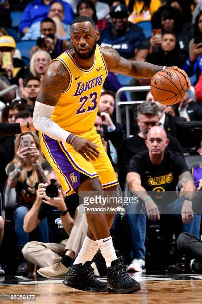 LeBron James of the Los Angeles Lakers handles the ball against the Orlando Magic on December 11 2019 at Amway Center in Orlando Florida NOTE TO USER...