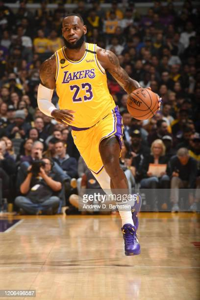 LeBron James of the Los Angeles Lakers handles the ball against the Brooklyn Nets on March 10, 2020 at STAPLES Center in Los Angeles, California....
